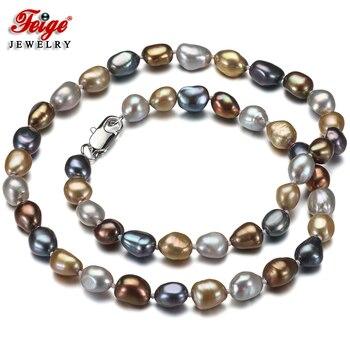 60cb67935a10 Collar de perlas Multicolor Vintage para mujer Regalos de joyería de  aniversario 7-8 MM perlas barrocas de agua dulce Dropshipping FEIGE