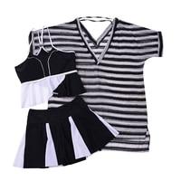 3 In 1 Set High Quality Zebra Or Navy Striped Sexy Plus Size Bikini Swimwear With
