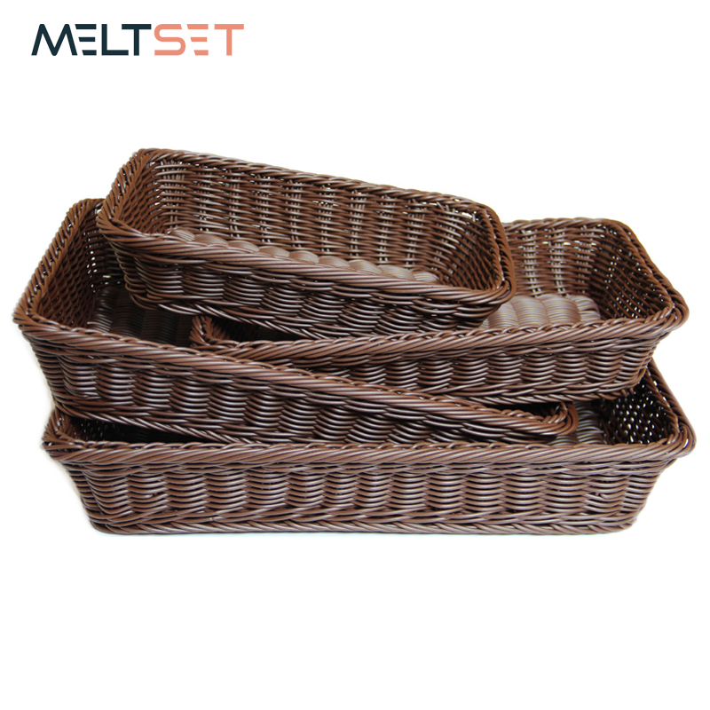 4 saiz Wicker Basket Fruit Dish Rattan Bread Basket untuk Kitchen and Living Room Dining Room