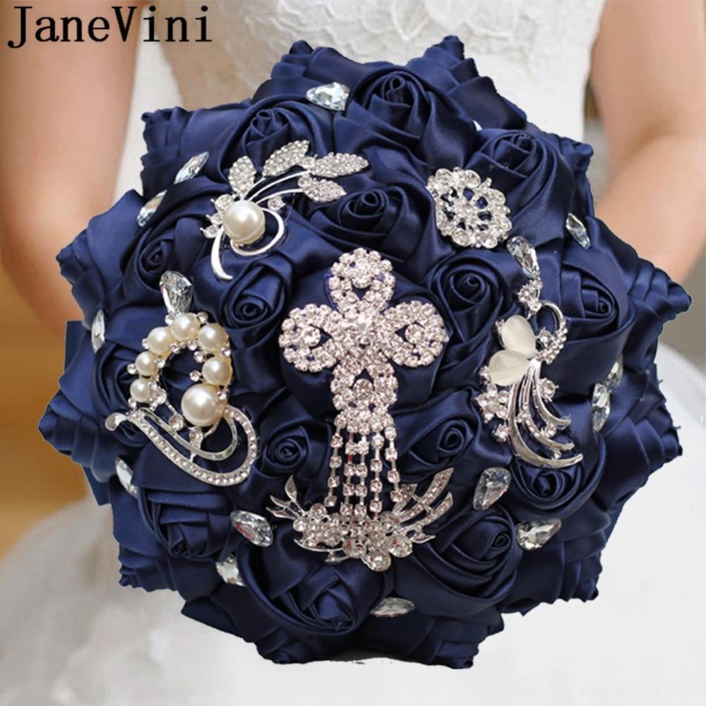 JaneVini Navy Blue Bride Flower Bouquet Bridal Blingbling Crystal Satin Rose Wedding Bouquet Beaded Flower For Bridesmaids 2019