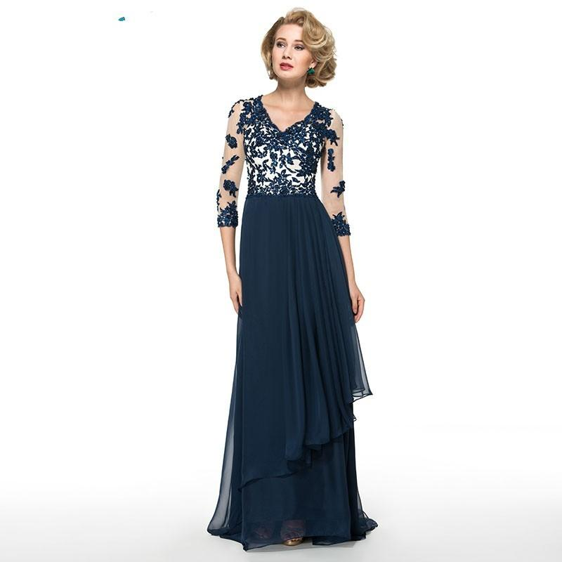 2016 Navy Blue Mother Of The Bride Dresses With Sheer