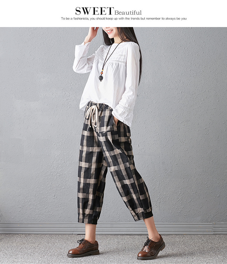 New 2018 Spring And Autumn Artistic Vintage Trousers Women Harlan Pants Woman Pants Loose Linen Pants For Women Plus Size Women 11