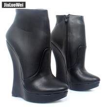 Jialuowei Fetish Stallion Horse Hoof Sole  Ankle Boots With Zip BDSM Platform Runway Rock Star Night Club Goth Punk Hi Heel Boot