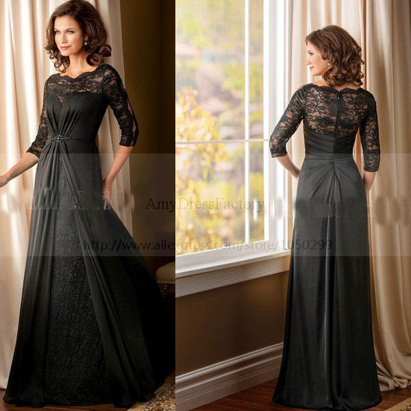 Stunning Mother Of The Bride Dresses: Stunning Beautiful Chiffon Elegant Long Dark Grey Mother