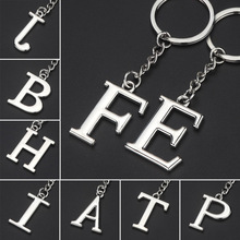 Trendy silver letter name key chain women men unisex metal alloy rings car bag Simple Letter  Key Holder Party Gift Jewelry