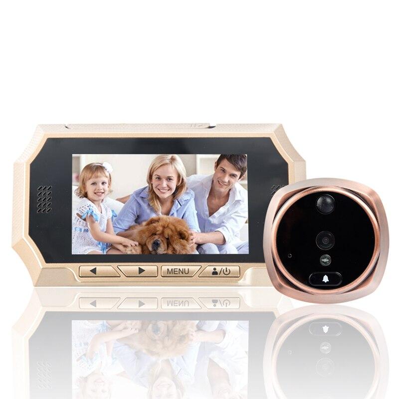 4.3 LCD Intelligent Porte Judas Spectateur PIR Auto Photos/Audio Enregistrement Vidéo HD IR de Vision Nocturne Caméra Sonnette PIR Motion capteur
