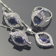 Moda Plata de ley 925 Azul Creado Zafiro Topacio Blanco Sistemas de La Joyería Para Las Mujeres Pendientes/Colgante/Collar/Anillos Caja libre