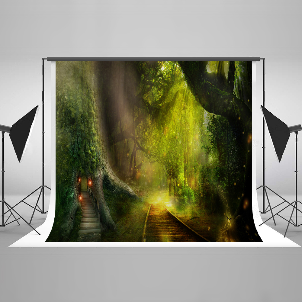Kate 10x10ft Green Forest Fantasy Photography Backdrop Photography Backdrops Cartoon Fairy Tale Children Photography Background vinyl photography background fairy tale