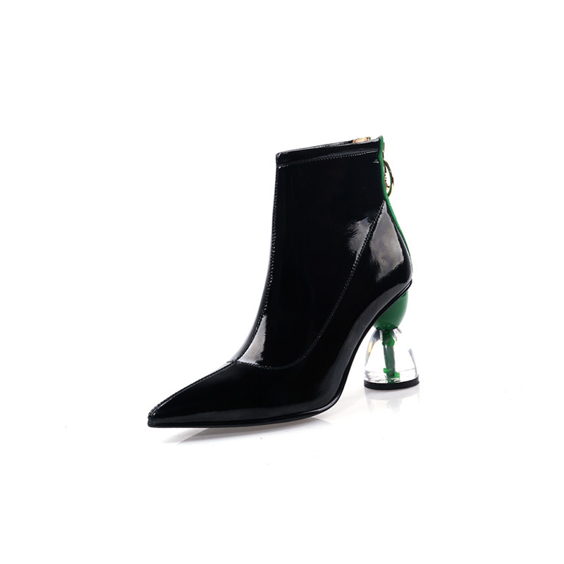 Image 2 - MORAZORA 2020 new fashion high heels party shoes women ankle boots patent leather autumn boots zip unique Short Boots woman-in Ankle Boots from Shoes