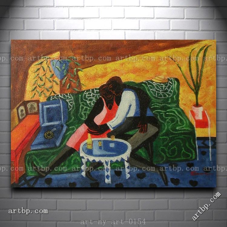 Contemporary Oil Painting Of Couple Hugging On Couch In