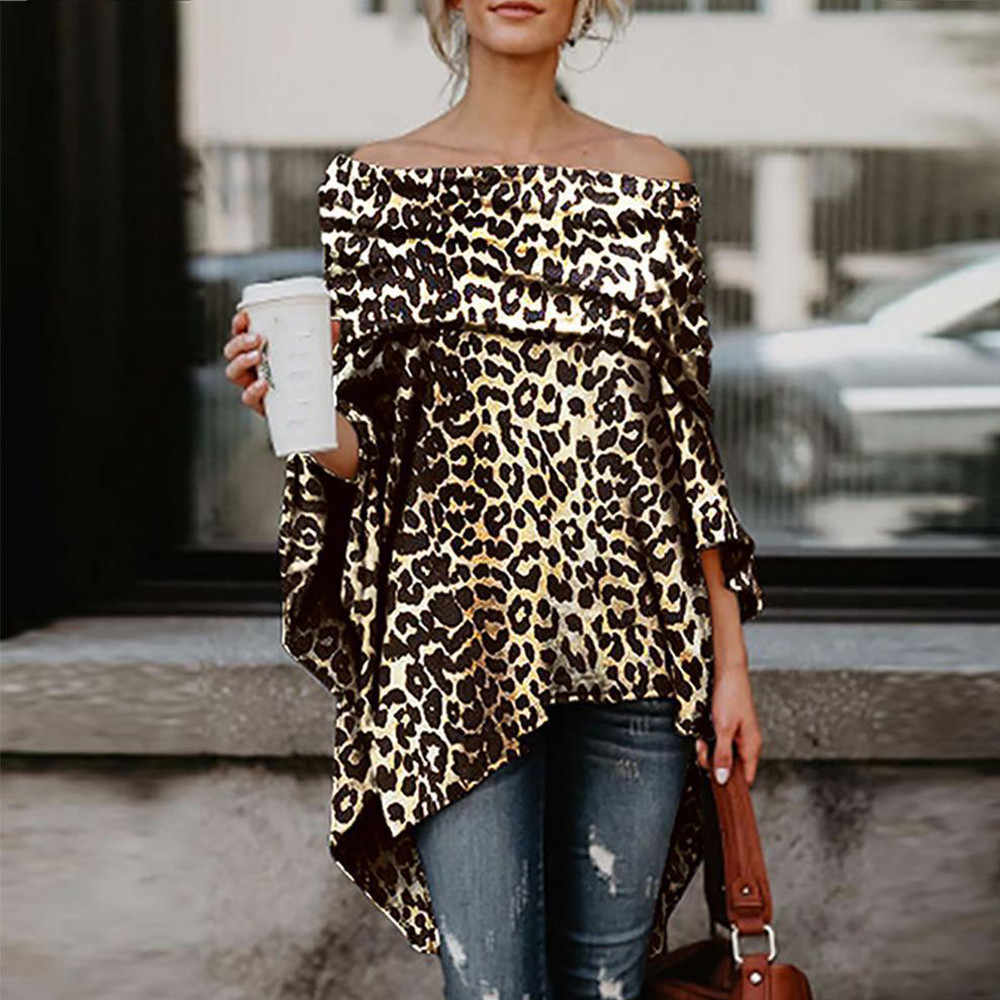 4286becf Detail Feedback Questions about Sexy Women Off Shoulder Leopard Printed  Blouse Asymmetric Shirts Casual Long Sleeve Tops Blouse Streetwear Blusas  De Mujer ...