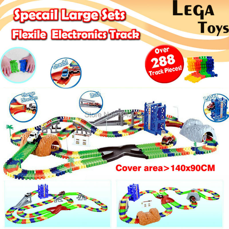 все цены на Specail Large Sets Coaster DIY Flexile Electronics Track Roller Coaster track Electronics Toy Car Assemble Railway Rail Car Toy онлайн