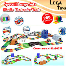 Specail Large Sets Coaster DIY Flexile Electronics Track Roller Coaster track Electronics Toy Car Assemble Railway Rail Car Toy