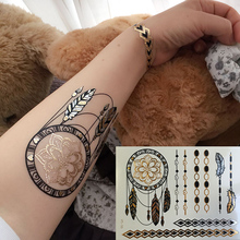 1 Sheet Gold Silver Black Temporary Metallic Tattoo Jewel Inspired Fashion Sexy Luxury Chain Wing Flower Heart