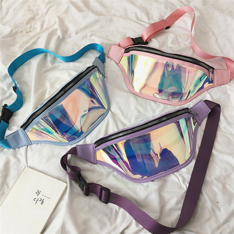 3 Colors New Holographic Waist Zipper Bag For Women Laser Fanny Pack Belt Bag Bum Bag Unisex Banana Bags