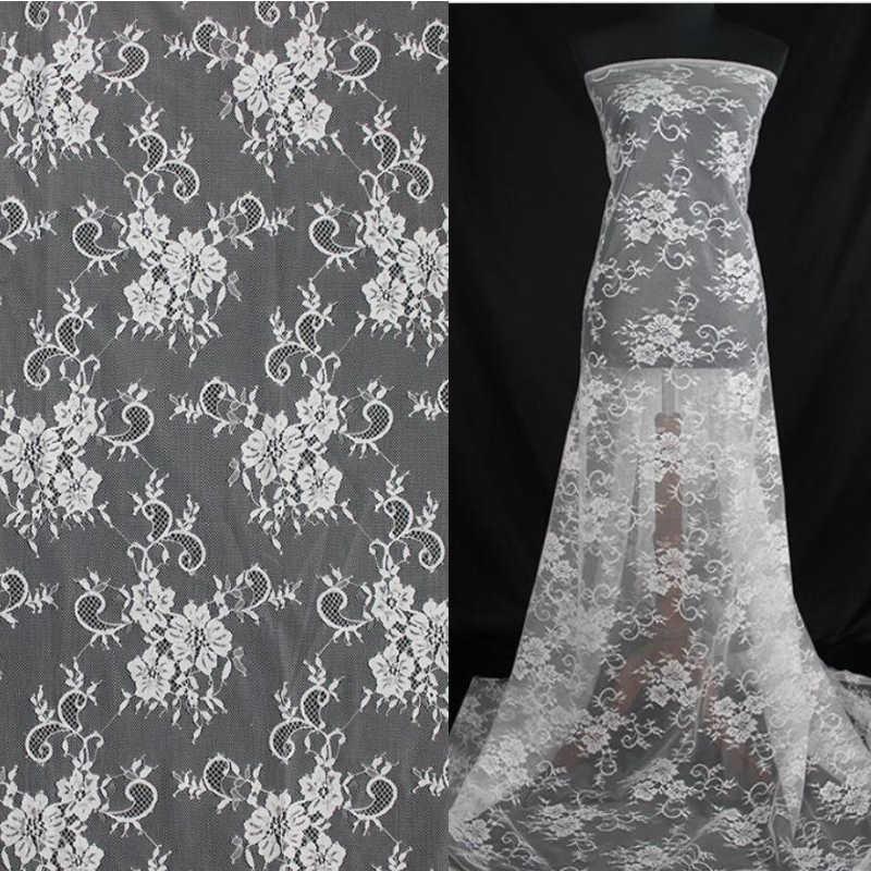 10 metros 150 cm LFY mais recente do marfim branco francês Chantilly bordado tule Chantilly tecido de renda francesa de alta qualidade lindo