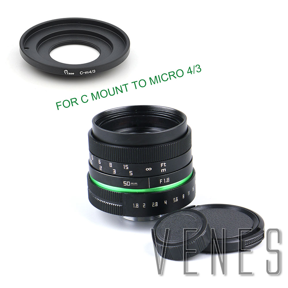 Venes 50mm F1.8 APS-C Television TV Camera Lens + C Mount adapter For Panasonic for Olympus OM-DE-M10 II E-M5 IIE-M1 E-M5 E-M10 silver fujian 50mm f1 4 cctv movie lens c mount to micro 4 3 m4 3 for olympus e m1 mark ii e m5 ii e m10 ii e pl7 8 e pm1 e pl2