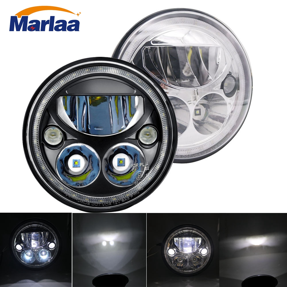 Marlaa DOT Approved 7'' Round LED Headlight with High Low Beam White DRL for Jeep Wrangler JK TJ LJ CJ Hummer H1 H2 (Pair) whdz 1pc round 7inch 75w round led headlight hi low beam head light with bulb drl for jeep wrangler tj lj jk cj 7 cj 8 scrambler