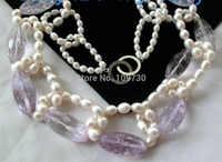 Joyería 003005 Natural Rainbow Blanco Arroz Perlas de Agua Dulce y Collar de Amatista