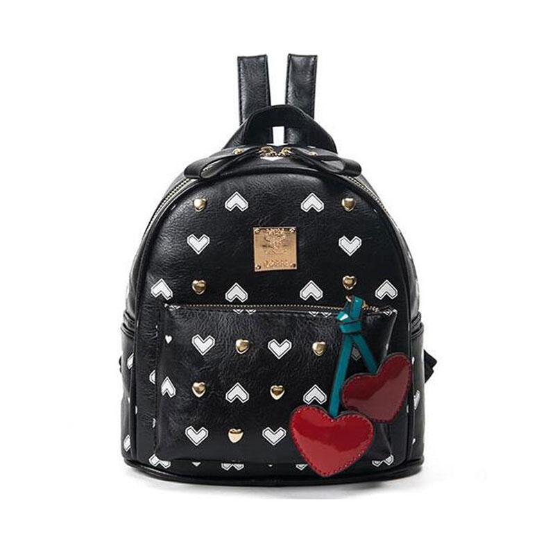 2017 Women Small Backpack for Teenger Girls School Bags Heart Rivet Ladies Shoulder Bag PU Leather Mini Travel Bags Purse