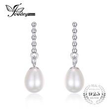 Jewelrypalace 925 plata esterlina cultivadas de agua dulce 5-7mm blanco de la perla cuelga los pendientes para las mujeres joyería fina para el compromiso