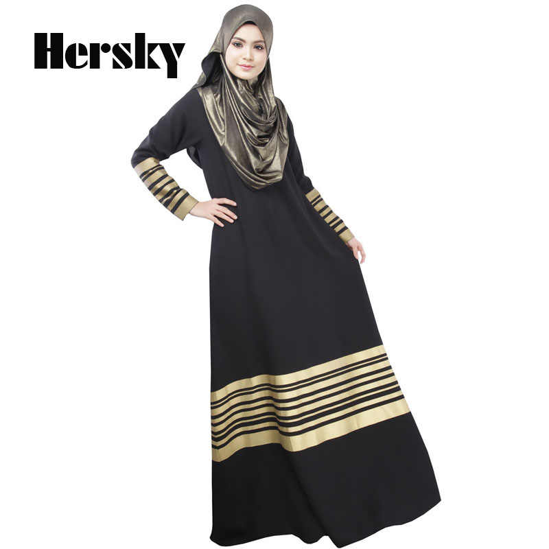 Оптовая продажа турецкое мусульманское платье абайя женская одежда золотые Печатные полосы исламские Абайи s jilbabs одеяние мусульмане vestidos Одежда
