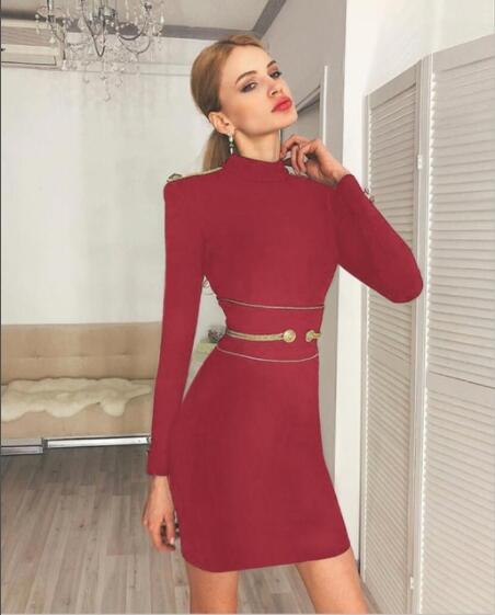 Simple rouge Élégante Bouton Qualité Robe Bal Femmes Haute Sexy cou Nouveau Rayonne De Mini O année Bandage Soirée 2IEDH9YW