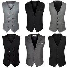 British Style Black Grey Male Fomal Business Waistcoat Big Size Double Breasted Suit Vest Men Plus Size 5XL 6XL