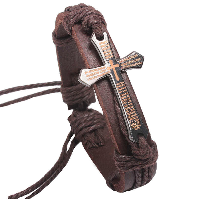 Cross Genuine Leather Bracelet Hemp Wristband Silver Charm Weave Cord Chain Cuff Bangles Adjustable Men Women Jewelry Accessory