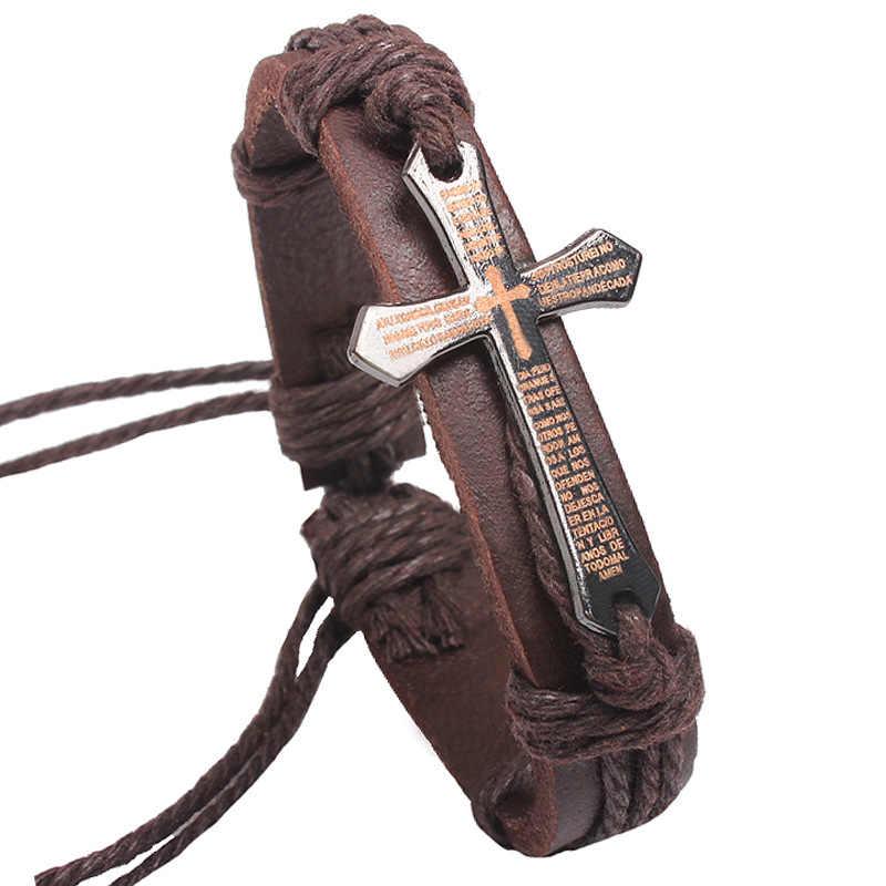 Krzyż prawdziwej skóry bransoletka konopnej opaska na nadgarstek srebrny urok splot łańcuch łańcuch mankiet bransoletki regulowane mężczyźni kobiety biżuteria akcesoria