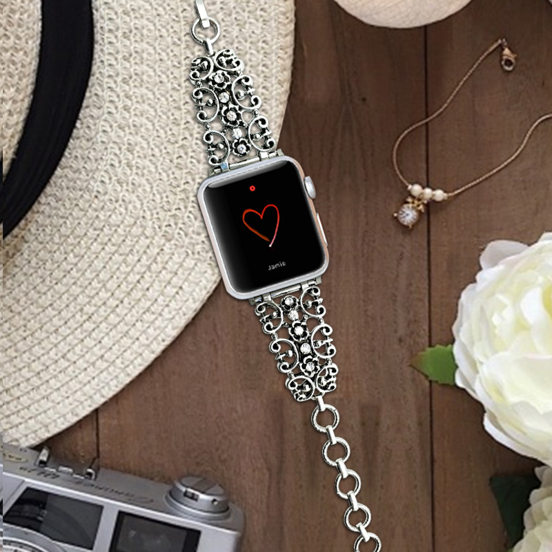 For Apple 38-42mm <font><b>Watch</b></font> Band Metal <font><b>Diamond</b></font> Carving Design Strap Women's <font><b>Watch</b></font> Bracelet For Apple iWatch Series 3 2 1 Wrist Band image