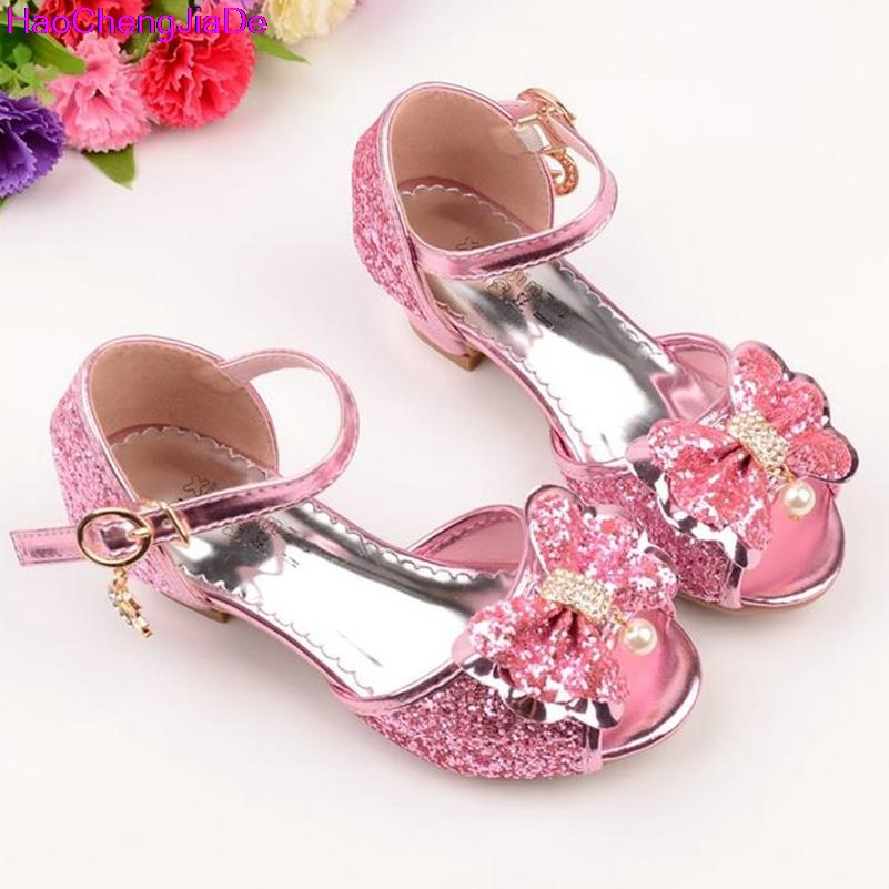 b2c0f84d0ac9 qloblo Girls Leather Bowtie Party Children Princess Sandals Kids Girls  Wedding Shoes High Heels Mules   Clogs Shoes-in Mules   Clogs from Mother    Kids on ...