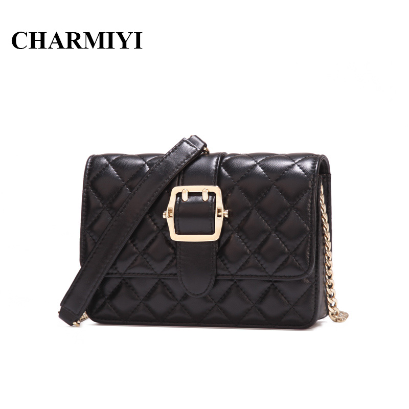 CHARMIYI 2018 Brand Belt Buckle Genuine Leather Women Messenger Bags Small Chain Shoulder Bag Mini Clutch Ladies Crossbody bag fashion brand genuine leather women messenger bag patchwork plaid chain shoulder bag small ladies crossbody bag