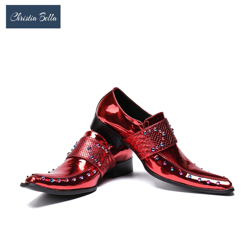 Christia Bella Men Shoes Casual Luxury print Genuine Leather Formal Dress Buckle Straps Square Toe Wedding Shoes Zapatos Hombre