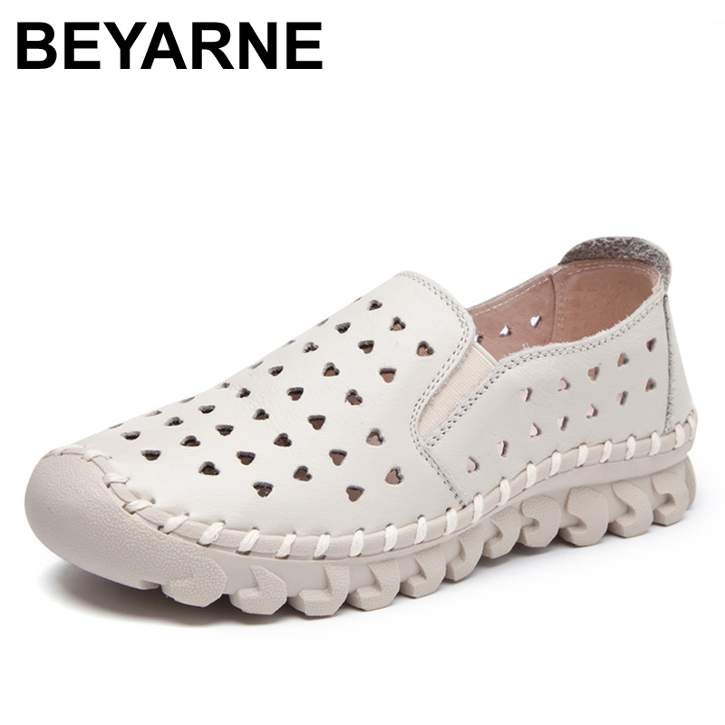 BEYARNE spring and summer new genuine leather shoes women trend wild hollow shoes comfortable soft bottom hole womens flat shoes 2017 spring and summer new leather men leisure low to help peas shoes soft and comfortable sets of feet driving shoes