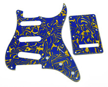 KAISH ST SSS Pickguard,Trem/Tremolo Cover and Screws Blue Shell 3 Ply