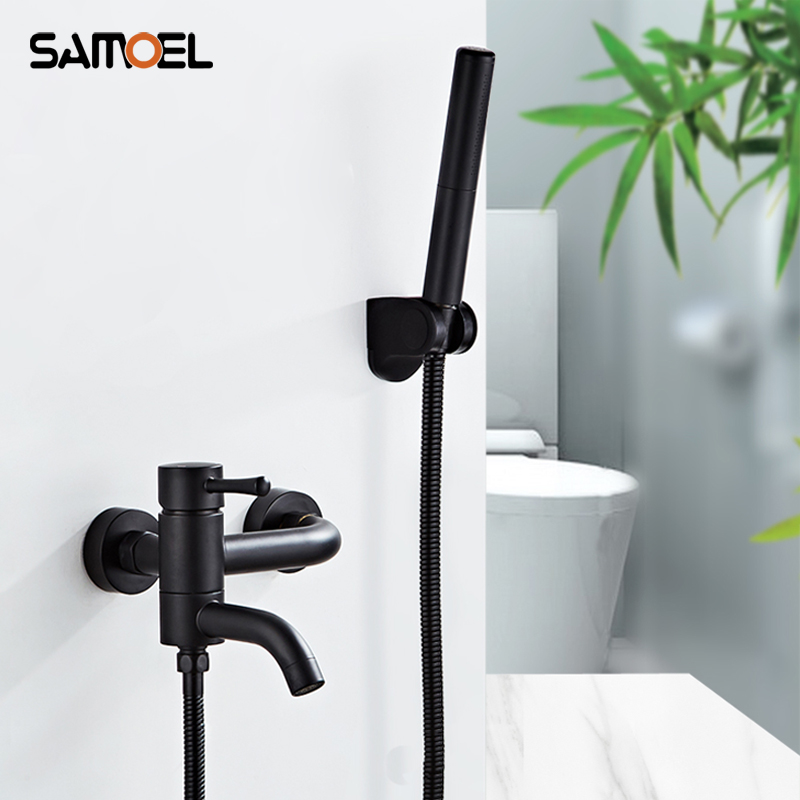 Modern Brass Black Bath and Shower Mixing Valve Wall Mounted Shower Faucet Tap With Black Bidet SF1044Modern Brass Black Bath and Shower Mixing Valve Wall Mounted Shower Faucet Tap With Black Bidet SF1044