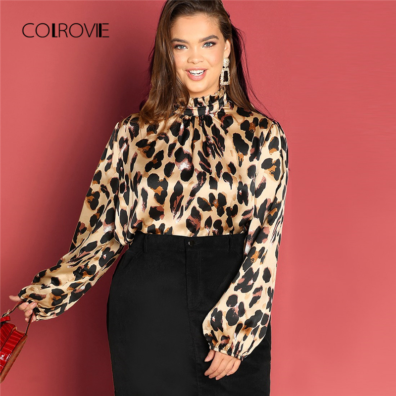 COLROVIE Plus Size Leopard Print Frill Elegant   Blouse     Shirt   Ladies Tops 2018 Winter Fashion Streetwear Work Wear Womens Clothing