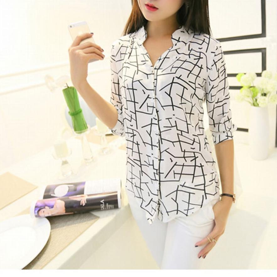 MUQGEW New Arrival Fashion Women's Elegant Long-sleeve Print Chiffon Fashion Slim Clothes Beautiful Attractive Polo Shirt