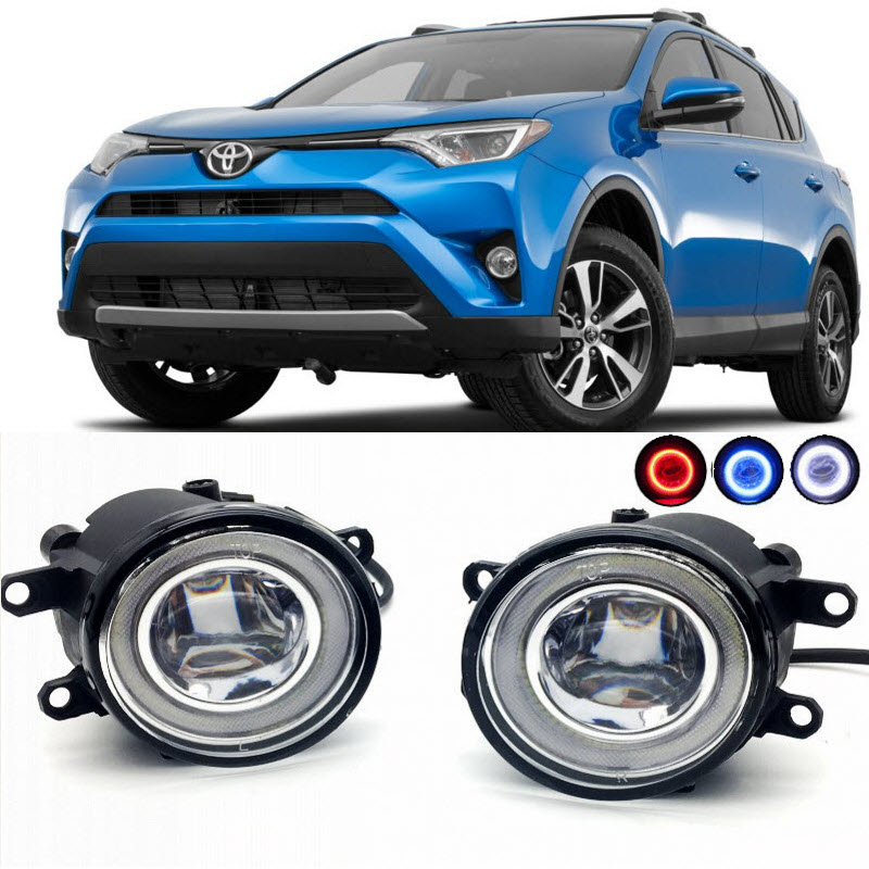 For Toyota RAV4 RAV-4 2006-2017 2016 2 in 1 LED Cut-Line Lens Fog Lights Lamp 3 Colors Angel Eyes DRL Daytime Running Lights car styling 2 in 1 led angel eyes drl daytime running lights cut line lens fog lamp for land rover freelander lr2 2007 2014