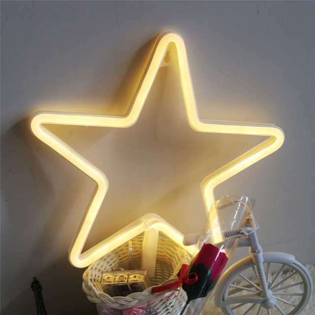 Led Neon Night Lamp USB Battery Operated Star Marquee Sign Neon Wall Light Home Wedding Decor For Christmas Birthday Gift