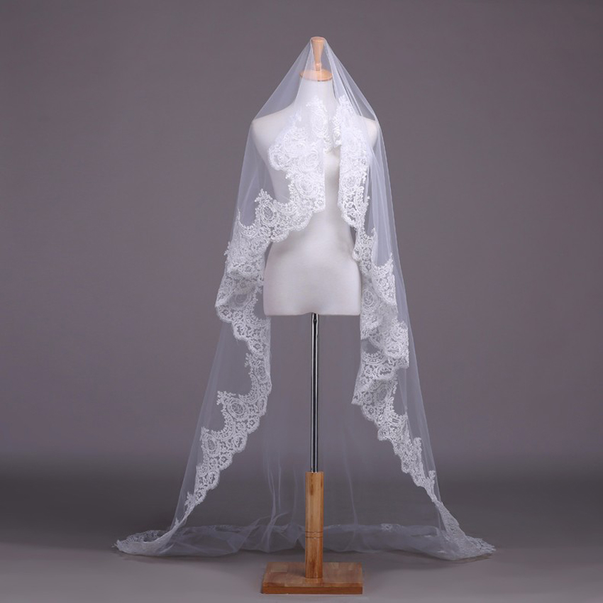 Alexzendra White Ivory Lace Wedding Veil Bridal Veil 2 Meters Cathedral Long Wedding Veils Veu De Noiva Wedding Accessories