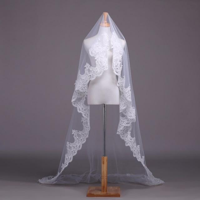 Alexzendra Putih Gading Renda Pernikahan Kerudung Veil Pengantin 2 Meter Cathedral Panjang Pernikahan Kerudung Veu De Noiva Pernikahan Aksesoris