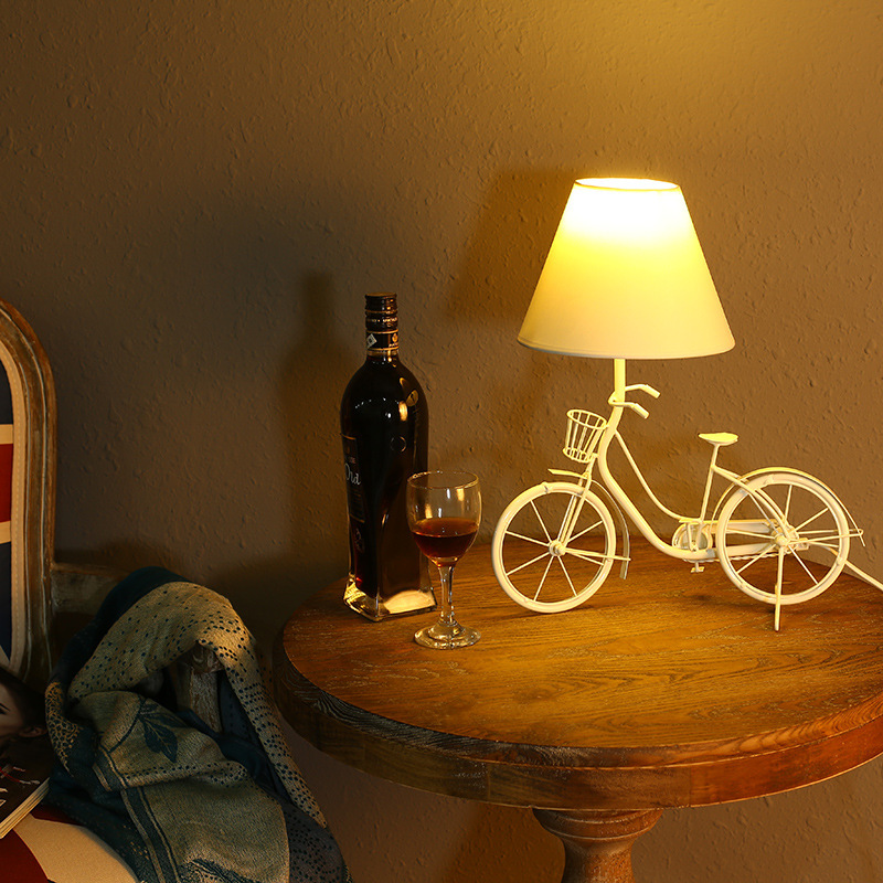 modern fashion High quality Creative white metal bicycle Table Lamps Small Iron Led decor Table Lamps E14 N1302