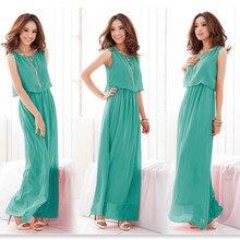2019 Sundress woman long maxi Dress Plus Size casual boho Chiffon Sleeveless Beach dress Woman