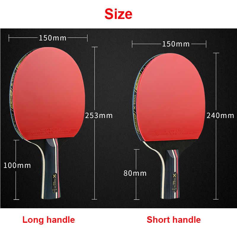 Huieson Rubber Table Tennis Rackets 1 Pair Professional Carbon Pingpong Bat Blade Long Pimples Penholder Paddle Case Bag 3 Balls