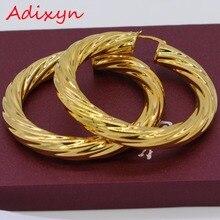 Adixyn 5,3 см африканские большие серьги-кольца для женщин золотого цвета и латунные витые серьги арабские/эфиопские N01095