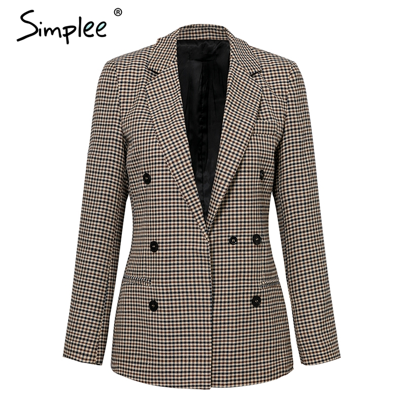 Simplee Fashion double breasted plaid blazer Female long sleeve office ladies blazer 18 Autumn jacket women outerwear coats 13