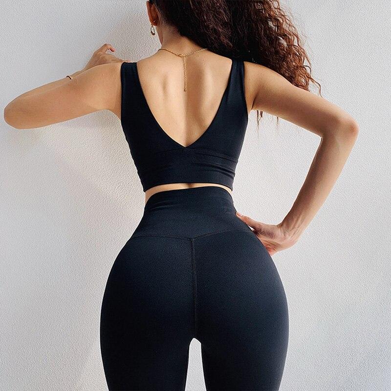 Deep V Neck Gym Bra Women Sexy High Support Dance Jogger Sports Bras Removable Pads -4354