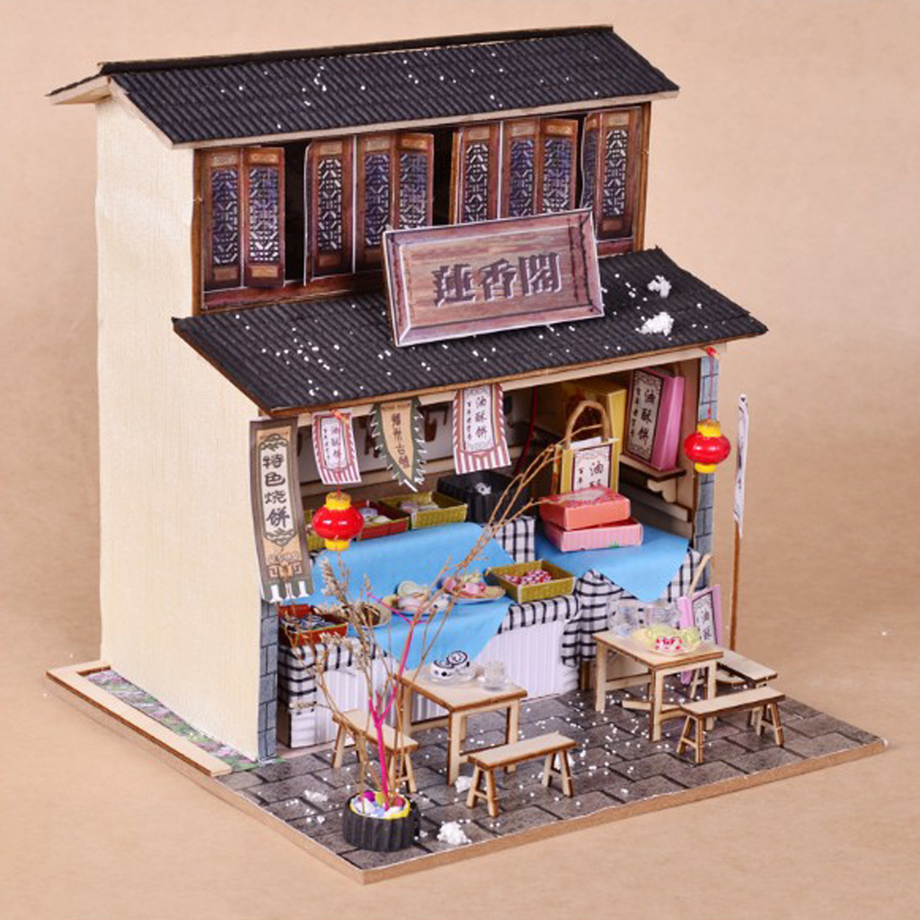 Us 1745 29 Offdiy Handcraft Miniature Project Wooden Dolls House Antique Snack Foods Shop Model Dollhouse Furniture Led Lights In Doll Houses From